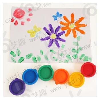 幼儿园手工材料手工diy儿童手工制作-6色手指印画