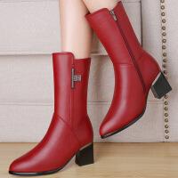 莫蕾蔻蕾 气质OL办公室单靴百搭时尚保暖靴粗跟中筒靴 6D626