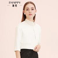 【8.30上新】海贝春季女式上衣外套 时尚优雅风琴褶短款夹克