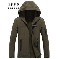 战地吉普AFS JEEP男装冲锋衣 户外休闲抓绒两件套夹克 男士时尚拼色登山服保暖外套