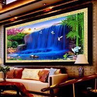 印花十字绣新款客厅系列流水生财风景山水大十字绣挂画卧室