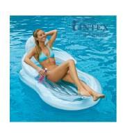 INTEX透明扶手靠背躺椅58857 充气浮排浮床 沙滩海滩垫