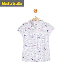 巴拉巴拉女童衬衫短袖小童宝宝上衣童装夏装儿童纯棉衬衣