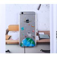 苹果6splus手机壳iphone6s/5s   硅胶软壳        艺术绘画原创 新款宇航员  全包创意