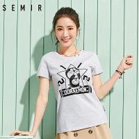 森马短袖T恤 2017夏季新款 女士韩版学生卡通印花纯棉上衣打底衫