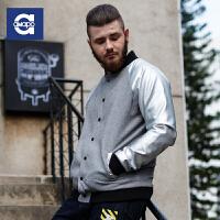 AMAPO潮牌大码男装 2016秋装新款胖男士加大号PU羊毛拼接夹克外套
