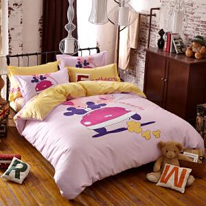 OLYI 纯棉床上用品四件套 全棉斜纹活性印花床单式家纺四件套 爱的旅程床品四件套 床上四件套