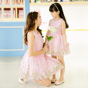 【当当年中庆】亲子装 母女装 时尚休闲碎花背心公主连衣裙夏女 演出服