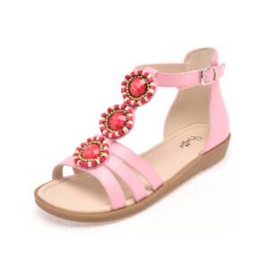 鞋柜夏季新款甜美花朵魔术贴平跟露趾女童鞋凉鞋