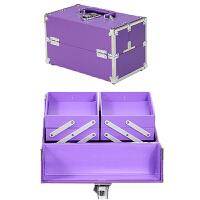 手提化妆箱 多层美甲彩妆工具箱 双开铝合金化妆箱