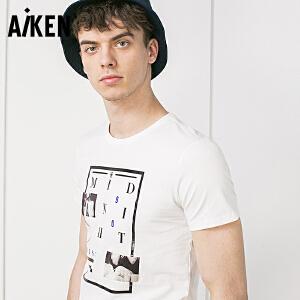 Aiken短袖T恤男士2017夏装新款圆领套头半袖体恤男士字母印花上衣