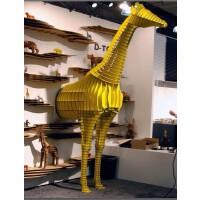 高2.8米长颈鹿动物书架置物架 动物系列整体墙面设计 展示厅设计