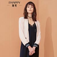 【海贝超级品牌日 买三免一再满减】【私人衣橱】海贝年春季上衣外套女 纯色休闲棒球衫夹克