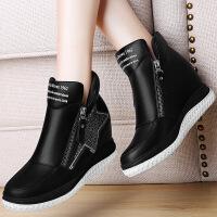 莫蕾蔻蕾 冬季新款休闲鞋内增高女鞋平底坡跟单鞋圆头乐福松糕厚底鞋子 6D610