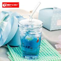 天喜玻璃杯创意果汁冷饮杯带盖儿童杯子居家水杯奶昔杯吸管杯