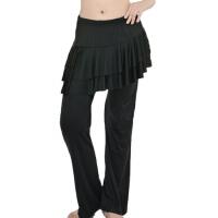 广场舞服装裙裤拉丁舞下装大码时尚简单简洁大方女舞蹈裤舞蹈练习练功裤子 黑色裤裙