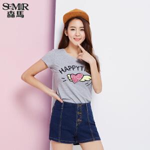 森马短袖T恤 夏装 女士圆领字母可爱印花直筒t恤 韩版潮