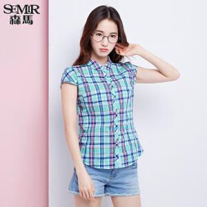 森马短袖衬衫 夏装 女士休闲格子纯棉直筒衬衣韩版潮女装