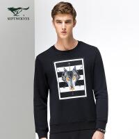 七匹狼T恤 2017新品 男士年轻时尚休闲圆领潮流印花长袖T恤 男装 6015657