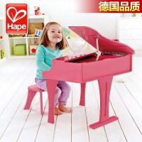 德国Hape儿童小钢琴30键三角立式宝宝乐器益智女孩木质音乐玩具