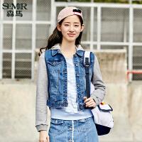 森马短外套 2017春装新款 女士学生韩版可拆卸帽贴布绣牛仔外套潮