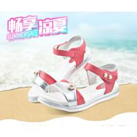 七波辉女童鞋正品2017夏季新款韩版皮凉鞋公主鞋透气防臭休闲凉鞋