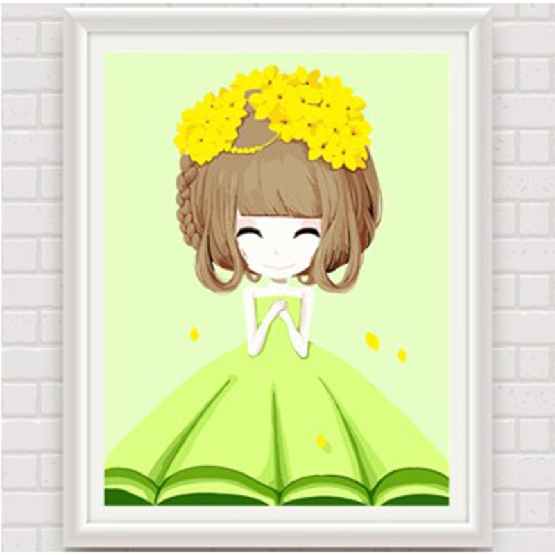数字油画 动漫卡通人物少女手绘装饰画 儿童可爱卧室 花花姑娘_迎春姑