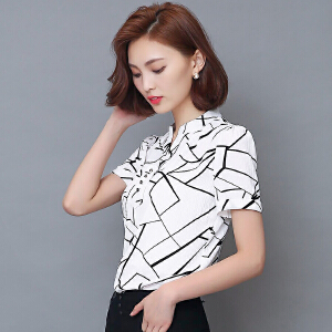 波柏龙 夏季新品上衣韩版印花雪纺衫短袖V领职业装