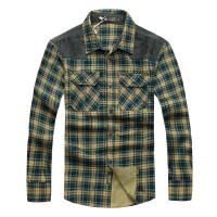 战地吉普男士长袖格子衬衫时尚男装秋冬新款男装 男士长袖衬衫