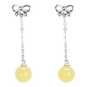 戴和美珠宝首饰耳饰 精选琥珀蜜蜡蝴蝶圆珠耳环