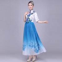 新款合唱服长裙女士演出服大合唱服装青花瓷古典合唱团礼服女