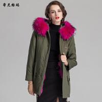 冬季新款皮草外套中长款狐狸毛时尚派克服军大衣女装