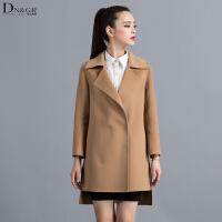 秋冬女士中长款外套翻领修身羊毛呢大衣休闲女装C16030