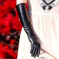女士触摸屏过肘长款 送女朋友节日礼物 真皮毛一体手套 秋冬季保暖加厚加绒绵羊皮袖套手臂