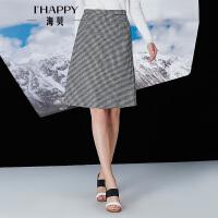 【海贝超级品牌日 买三免一再满减】【11月22日上新】海贝冬季新款女装半身裙时尚优雅千鸟格毛呢中裙
