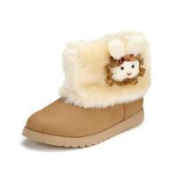 鞋柜SHOEBOX冬款保暖女童红色绒毛小白兔侧拉链可爱靴子