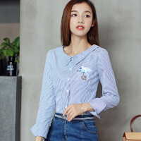 2017秋装新款娃娃领条纹衬衫女显瘦韩版长袖休闲衬衣