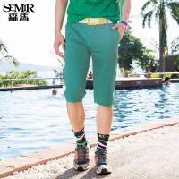 森马休闲裤 夏装 男士纯色中低腰直筒六分裤子韩版潮学生