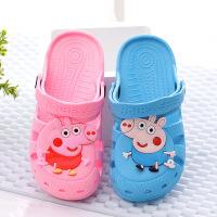 泰蜜熊卡通儿童小猪佩奇防滑耐磨一体成型夏季洞洞鞋沙滩凉鞋