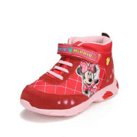 鞋柜SHOEBOX冬款女童紫色魔术贴米妮图案高帮休闲鞋