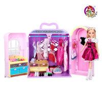 乐吉儿梦幻衣柜橱芭比娃娃衣服大礼盒套装正品可儿女孩公主玩具