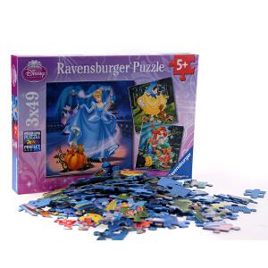 [当当自营]Ravensburger 睿思 迪士尼系列 迪士尼公主 (3x49片) 儿童益智卡通拼图玩具 R093397