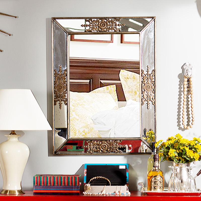 奇居良品 欧式复古客厅玄关壁挂壁饰 洛可可浮雕墙面装饰镜子