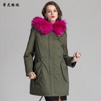 冬季新款女士时尚皮草外套兔绒内胆貉子领帽中长款派克服军大衣