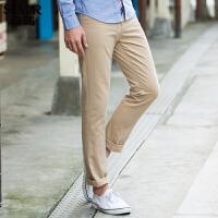 森马休闲裤 春装 男士棉质纯色小直筒男装长裤子韩版潮流