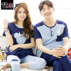雪俐情侣睡衣女男短袖韩版夏季卡通居家服套装