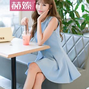 【赫��】2017夏季新款女装新款气质名媛百褶裙修身显瘦背心连衣裙H6726