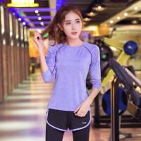 秋冬新款瑜伽服长袖上装 运动上衣女跑步显瘦健身服速干衣