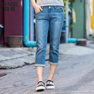 森马牛仔裤 夏装 女士中低腰直筒七分裤水洗牛仔裤韩版潮