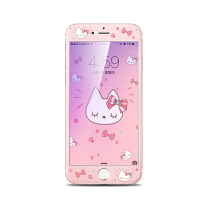 6splus钢化膜全屏覆盖彩膜iphone6 plus抗蓝光高清前膜 卡通贴膜